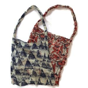 Two Free People Cotton Gauze Cloth Floral Reusable Tote Bags